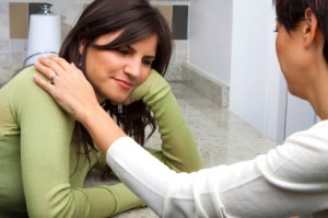 Woman giving stress support to a friend