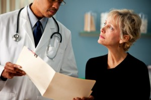 Woman and her doctor discussing stress relief